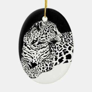 Leopardo preto & branco ornamento de cerâmica oval