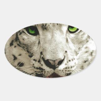 Leopardo selvagem adesivos ovais