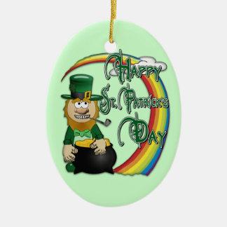 Leprechaun feliz 2S do Dia de São Patrício Ornamento De Cerâmica Oval