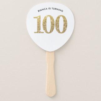 Leque Brilho à moda moderno 100th do ouro do FÃ do