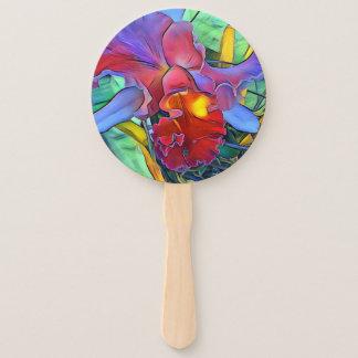 Leque Fã da mão do programa da flor da orquídea