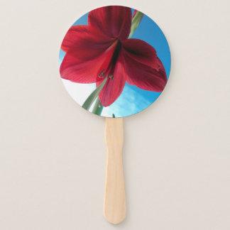 Leque Flor vermelha vívida do Amaryllis contra uma