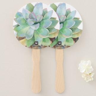 Leque Monograma. Succulent. tirado mão da aguarela