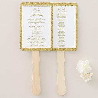 Leque Ouro elegante e programa branco do casamento da