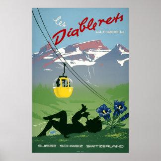 Les Diablerets, suiça, poster das viagens vintage