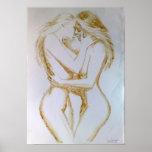 Lésbica que beijam, pintura do café poster