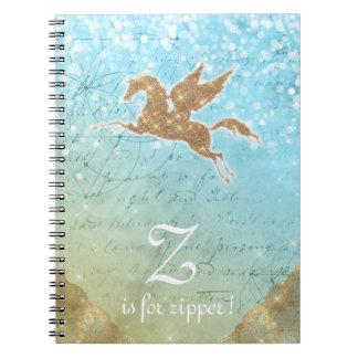 Letra azul Z das luzes do ouro do brilho do Cadernos Espiral