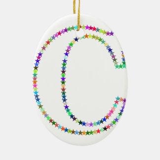 Letra C da estrela do arco-íris Ornamento De Cerâmica
