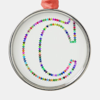 Letra C da estrela do arco-íris Ornamento De Metal