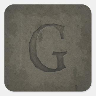 Letra concreta G do monograma Adesivo Quadrado