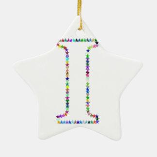 Letra da estrela do arco-íris mim ornamento de cerâmica