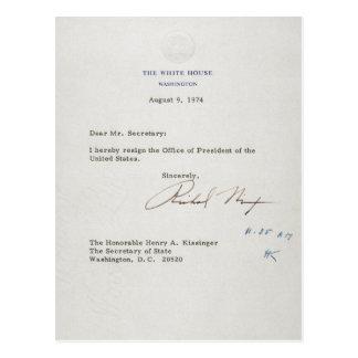 Letra da renúncia de Richard M. Nixon 1974 Cartões Postais
