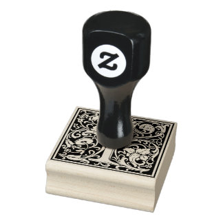 Letra decorativa do monograma mim carimbo de borracha