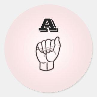 Letra do linguagem gestual grandes etiquetas por adesivo redondo