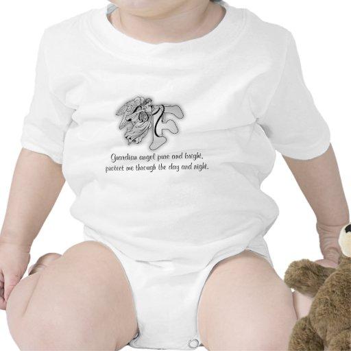 Letra F do anjo-da-guarda Macacãozinhos Para Bebê