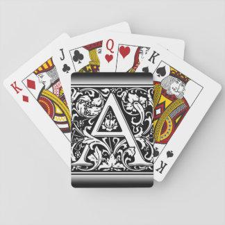 Letra floral do vintage elegante um monograma jogo de baralho