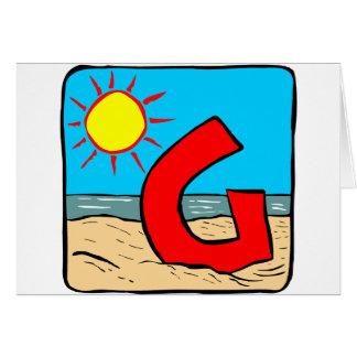 Letra G das ideias do casamento de praia Cartão Comemorativo