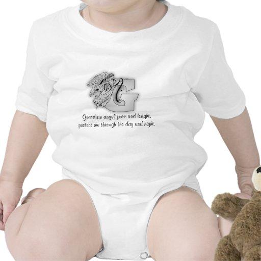 Letra G do anjo-da-guarda Macacãozinho Para Bebês