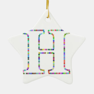 Letra H da estrela do arco-íris Ornamento De Cerâmica