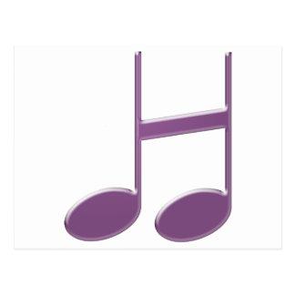 """Letra inglesa """"H"""" criada das notas musicais Cartão Postal"""
