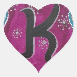 Letra K do monograma Adesivo Coração