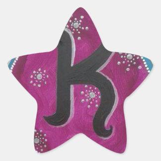 Letra K do monograma Adesivo Estrela