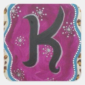 Letra K do monograma Adesivo Quadrado