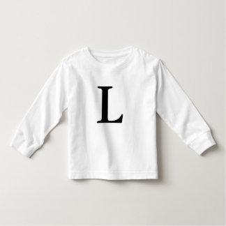 Letra L camisa preta monogrammed da inicial t