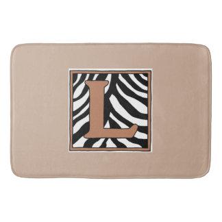 Letra L esteira de banho Monogrammed da zebra Tapete De Banheiro