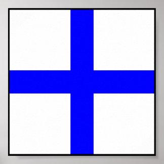 Letra marítima internacional da bandeira de sinal pôsteres