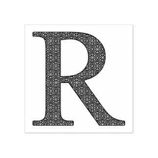 Letra medieval R do monograma do damasco Carimbo De Borracha