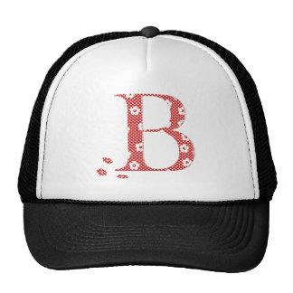letra modelada B da flor (vermelho & pontos) Boné