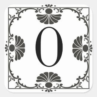 Letra preto e branco Monogrammed O da etiqueta Adesivo Quadrado