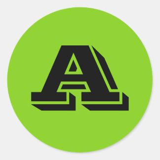 Letra principal grandes etiquetas redondas por adesivo redondo
