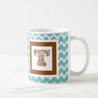 """Letra """"T"""" do impressão do girafa na Caneca De Café"""