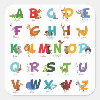 Letras animais ilustradas coloridas do alfabeto adesivo quadrado