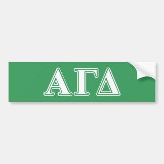 Letras brancas e verdes do delta alfa da gama adesivo para carro