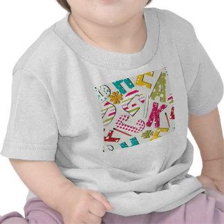 Letras brilhantes Funky com padrões Tshirts