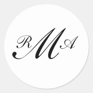 Letras de Seal_Three do convite do monograma Adesivo