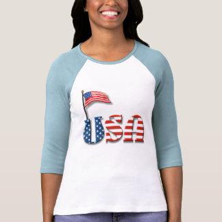 Letras dos EUA e bandeira americana Camiseta