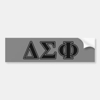 Letras pretas da phi do Sigma do delta Adesivo Para Carro