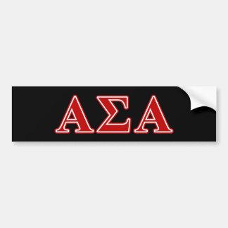 Letras vermelhas alfa do Sigma alfa Adesivo Para Carro