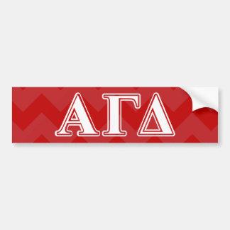 Letras vermelhas e brancas do delta alfa da gama adesivo para carro