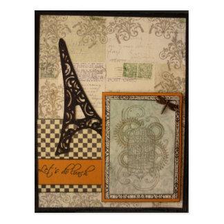 Lets almoça cartão da torre Eiffel