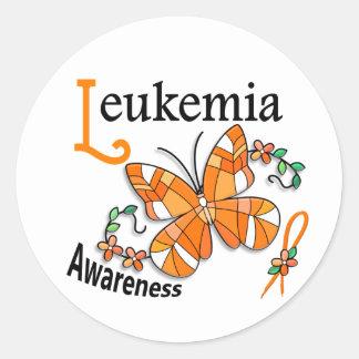 Leucemia da borboleta 2 do vitral adesivo em formato redondo