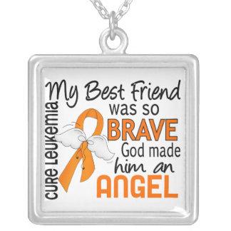 Leucemia do melhor amigo do anjo 2 (homem) colar com pendente quadrado