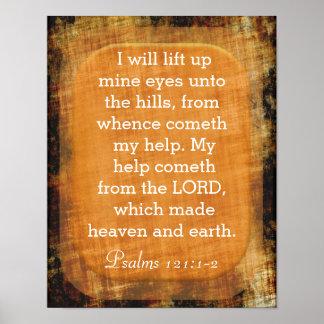 Levante acima os olhos de mina - 121:1 dos salmos pôster