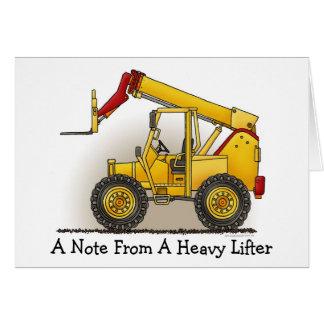 Levante o cartão de nota da construção
