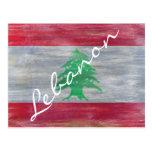 Líbano afligiu a bandeira libanesa cartão postal