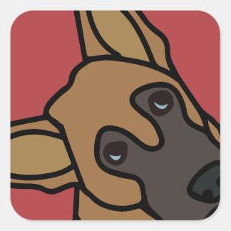 Libby os desenhos animados do cão de german adesivo quadrado